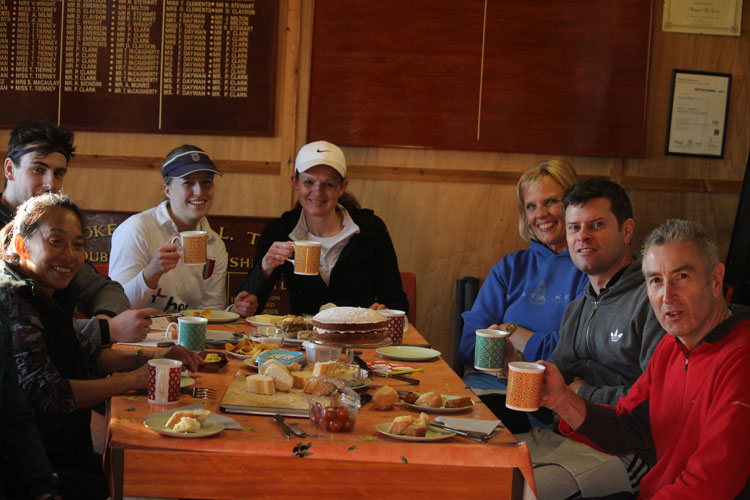 Mixed doubles match tea in Stoke Poges Lawn Tennis Club clubhouse 2015